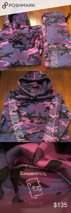 "Superrradical ""Tyler Gro$$o"" sweatshirt suit Superrradical sweatshirt suit by Tyler Gro$$o. Color is purple camo. Hoodie size is Large. Sweatpants are a Medium. They were made to look faded. Says ""SUPERRRADICAL"" on the hoodie sleeves and on both legs. Superrradical Tyler Gro$$o Other"