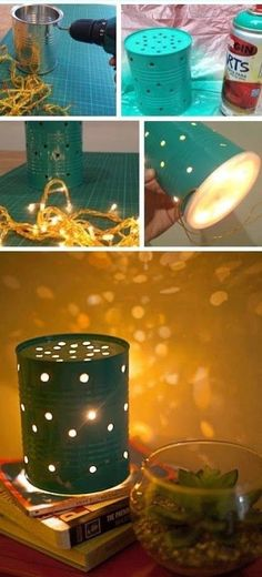 Making a light from an empty tin can #tutorial #upcycle #homedecor