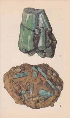 Vintage Print Rocks and Minerals Emerald and by PineandMain. $6.00, via Etsy.