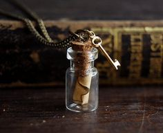 Tiny Message in a Bottle Necklace with by TheParlorApothecary, $28.00