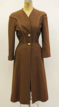 Ensemble - Clare McCardell 1941 - I believe this is a lightweight coat. Cotton.