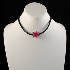 You're A Star!  Pink and Black Star Necklace, Lampwork Glass  | wiresNpliers - Jewelry on ArtFire