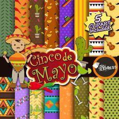"Mexican Digital Paper + Clipart : ""FIESTA Digital Paper"" - Cinco de Mayo Invitation, Mexican Clipart, Fiesta Clipart, Mexican Party, Maracas"