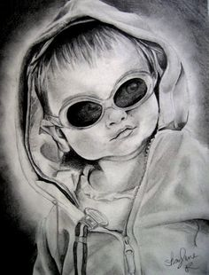 Custom Graphite Drawing by ShaylenesArt on Etsy, $50.00 © 2013 by Shaylene Reynolds, All Rights Reserved  #baby #sunglasses #hoodie #smirk #drawing #graphite #pencil #etsy #portrait #art #shading