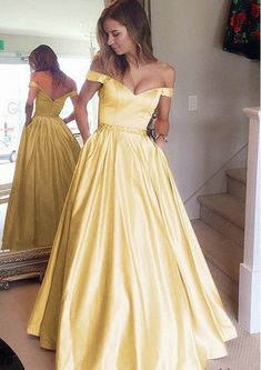 0a3b3f0e99 Stunning Yellow Prom Dresses Satin Evening Dresses V-neck Off The Shoulder