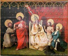 Konrad nach Witz - Altarpiece depicting Christ with St. Thomas and God the Father with Christ, the Virgin Mary and two donors, c.1450
