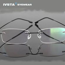 92c55dde62 IVSTA 2016 Silhouette Titanium Eyeglasses Frames Super Light B-Memory  Rimless Glasses Women Myopia Spectacle