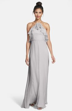 Free shipping and returns on Amsale Ruffle Detail Crinkled Silk Chiffon Halter Gown at Nordstrom.com. A diaphanous ruffle ripples from the dainty halter ribbon and envelops the fitted bodice of this airy silk-chiffon gown rendered in a refreshing mint hue. For an equally ethereal finish, the straight-cut skirt falls to a breezy, floor-sweeping hemline.