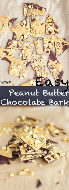 This Easy Peanut Butter Chocolate Bark with extra peanut chunks is SO rich and indulgent. Quick and easy to make, requires 3 simple ingredients, vegan + GF! | TwoRaspberries.com