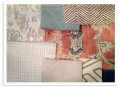 Quadrille fabric, Alan Campbell, peach and tan palette