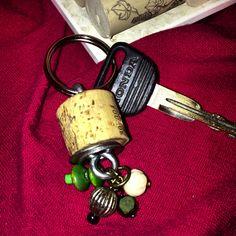 Tres Corks Beaded Keychain