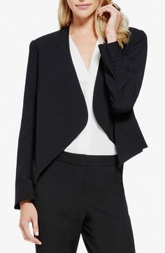 Free shipping and returns on Vince Camuto Drape Front Blazer (Regular & Petite) at Nordstrom.com. A more streamlined version of the tuxedo jacket is shaped with a draped, cutaway front and fitted back. Covered cuff buttons add a polished touch.