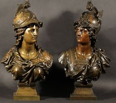 View Pair Of Bronze Busts Of Hermes And Athena Cast From The Model By Mathurin Moreau; bronze with medium bronze patina; Louis Xvi, Bronze Sculpture, Magazine Art, Portrait Art, Art Market, Victorian Era, Hermes, It Cast, Pairs