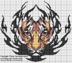 Grille gratuite point de croix : Tigre tribal (OMG I LOVE THIS)