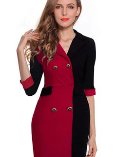 Nice-forever Spring Vintage Contrast Color Fitted Dress 2016 Casual Office Lady Notch ColorBlock Stylish Chic Pencil Dress * Check out the image by visiting the link. Formal Dresses For Women, Elegant Dresses, Sexy Dresses, Casual Dresses, Fashion Dresses, Business Dresses, Ideias Fashion, Bodycon Dress, One Piece