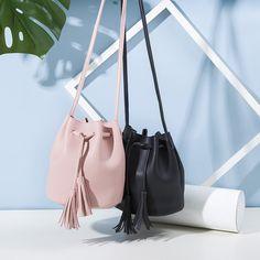 Small New Bucket Bag Women Leather Shoulder Bag Candy Color Mini Handbags Tassel Messenger Bags Crossbody Bags Handbags Shop Cute Handbags, Mini Handbags, Purses And Handbags, Popular Handbags, Cheap Handbags, Wholesale Handbags, Handbags Online, Beautiful Handbags, Popular Purses