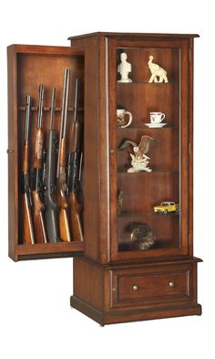 Hidden Gun Cabinet for 10 guns, traditional style fine furniture wood cabinet with a unique sliding gun storage unit behind the lighted curio display window