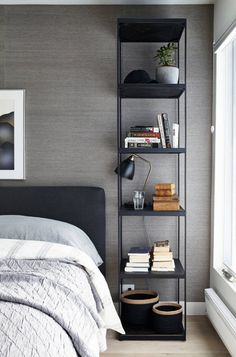 Tall Nightstands Ideas for Contemporary Bedroom with Black Upholstered Bed and Black and Gold Table Lamp Home Decor Bedroom, Interior Design Living Room, Bedroom Ideas, Black Upholstered Bed, Bedroom Decorating Tips, Padded Wall, Bedroom Photos, Contemporary Bedroom, Bookcase