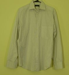Canali Brown/White/Blue Check Dress Shirt Long Sleeve Button Up 39 / 15.5 Italy!  $42.99