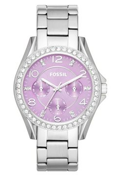 Fossil 'Riley' Round Crystal Bezel Bracelet Watch, 38mm | Nordstrom