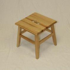 "Hardwood Footstool in Natural-12"""