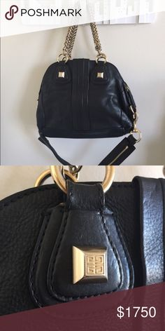 Givenchy authentic med. chain handle nightingale Authentic Givenchy black leather medium nightingale chain top handle purse with removable shoulder strap. Authenticated by posh for free over $500. Celebrity favorite staple handbag. Comes with givenchy dust bag Givenchy Bags