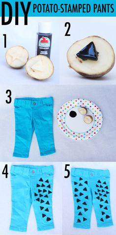 diy hand stamped (with a potato stamp) pants for baby boys