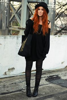 blackonblack/redhair, don really like the hat but i lovee the outfit