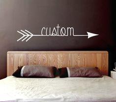 Custom Arrow Vinyl Decal (Interior & Exterior Available) Indie / Boho Decor, Tribal Feather and Arrow, Bedroom Wall Decor