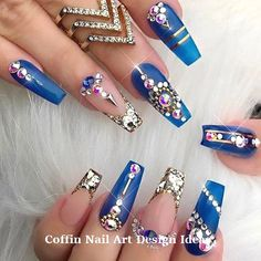 """If you're unfamiliar with nail trends and you hear the words """"coffin nails,"""" what comes to mind? It's not nails with coffins drawn on them. It's long nails with a square tip, and the look has. Acrylic Nails Natural, Best Acrylic Nails, Acrylic Nail Designs, Nail Art Designs, Nails Design, Acrylic Art, Natural Nails, Nail Designs Bling, Gold Designs"""