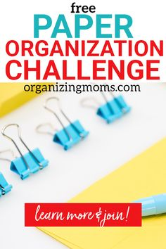 Join this free challenge that will help you declutter paper piles, set up a paper organization system, and know where you're keeping your important records. Office Organization Tips, Paper Organization, Organizing Life, Organizing Ideas, Organized Mom, Getting Organized, Paper Clutter, Work From Home Moms, Free Paper