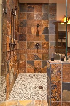 river rock shower floor bathroom remodel rustic bathroom