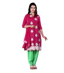 Buy Magenta embroidered cotton unstitched salwar with dupatta cotton-salwar-kameez online