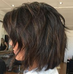 60 Layered Bob Styles: Modern Haircuts with Layers for Any Occasion Shaggy Brunette Bob Bob Style Haircuts, Choppy Bob Hairstyles, Layered Bob Hairstyles, Modern Haircuts, Modern Hairstyles, Cool Hairstyles, Short Layered Haircuts, Boy Haircuts, Hairstyle Men