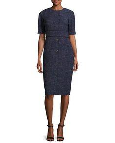 LELA ROSE PRINTED HALF-SLEEVE SHEATH DRESS, NAVY/MULTI. #lelarose #cloth #