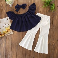 Check out this great stuff I just found at PatPat! 2019 New Off Shoulder Ruffle-sleeve Cute Top Bellbottom Pants Bowknot Headband Set Solid Color Cute Little Girls Outfits, Little Girl Fashion, Toddler Girl Dresses, Kids Outfits, Kids Fashion, Girls Frock Design, Baby Dress Design, Baby Girl Dress Patterns, Moda Kids