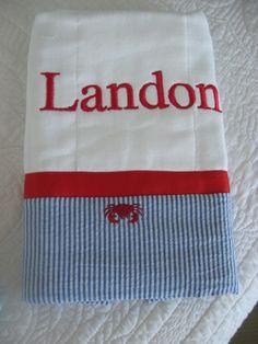 Monogrammed Burp Cloth / Burpie for Baby Boy. $13.00, via Etsy.