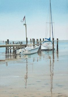 """John Fisher - WATERCOLOR - """"Morning Calm"""" -- In 1999 I was still using many of my Florida photographs as reference sources. This lovely peaceful scene was at Panama City Beach marina. 12"""" x 18"""" on 300 lb. Arches cold pressed, using Winsor & Newton Artist Qaulity colours."""