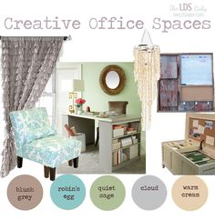For the home, Creative Office Spaces with reclaimed barn wood command center diy curtains (or urban outfitters) redone desk made from a door and two book shelves and a multi purpose hope chest filled with filing folders.  BY the LDS Baby