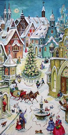 Beautiful vintage snowy village advent calendar. Cards like this might hold some village layout inspiration?