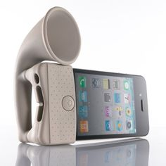 Have it and it works great! iPhone speaker made of rubber with no electricity. Amplifies soud by x2