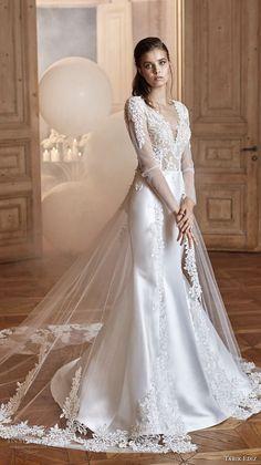 tarik ediz 2017 bridal long sleeves sweetheart neckline heavily embellished bodice satin skirt elegant trumpet wedding dress (27) mv