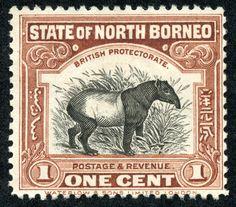 "North Borneo  1926-28 Scott 167 1c chocolate , Perf 12 1/2 ""Malayan Tapir"""