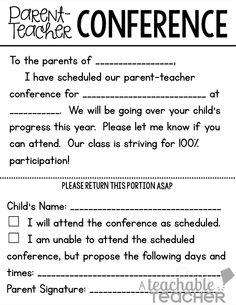 Conquer Conferences with these Free Parent-Teacher Conference Forms Parent Teacher Conference Forms, Teacher Notes, Teacher Stuff, Parents As Teachers, New Teachers, Teachers Toolbox, Conference Invitation, Student Led Conferences, Classroom Management Tips