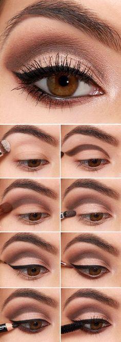 Trendy makeup for brown eyes step by step eyeliner make up 39 Ideas Beginner Eyeshadow, Eyeshadow Tutorial For Beginners, Simple Eyeshadow, Brown Eyeshadow, Eye Tutorial, Makeup For Beginners, Makeup For Brown Eyes, Makeup Eyeshadow, Eyeshadow Tutorials
