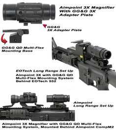 Aimpoint Magnifier Quick Detach Multi-Flex Base And Adapter: The Aimpoint Magnifier can be used in conjunction with all Aimpoint scopes for long range aiming, but when coupled with the GG&amp. Ar Accessories, Ar Build, Night Vision Monocular, Safe Room, Cool Guns, Guns And Ammo, Tactical Gear, Firearms, Base