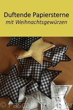 Paper stars- Sterne aus Papier A simple quick and still fragrant idea for the last minute Christmas decoration or to decorate gifts. Christmas Diy, Christmas Decorations, Wordpress, Diy Garland, Textiles, Paper Stars, E Design, Diys, Paper Paper