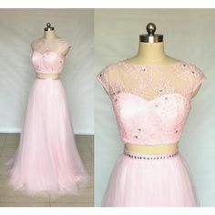 Cap Sleeves Blush Pink Lace Tulle Long Prom Dress 2018 Two Piece ($119) ❤ liked on Polyvore featuring dresses, gowns, silver, women's clothing, lace gown, lace prom dresses, pink lace dresses, two piece long dresses and pink lace gown