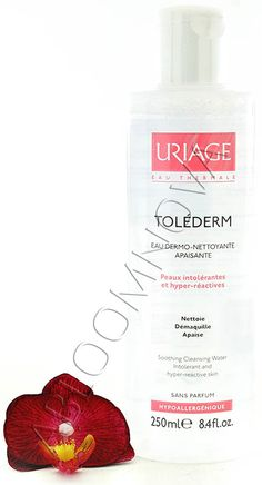 Enriched with soothing, anti-irritant Uriage Thermal Water, Eau Dermo-Nettoyante Apaisante TOLÉDERM gently removes make-up and lastingly calms feelings of discomfort experienced by hyper-reactive, intolerant skins. #Uriage #cleansing #soothing #water #cleanser #makeup #remover
