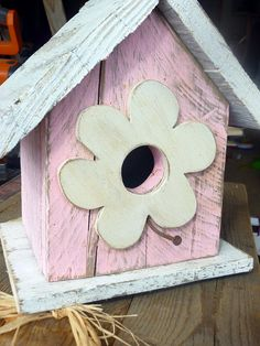Pink Reclaimed Wood Birdhouse w/ Flower & rusty nail perch.....so adorable!